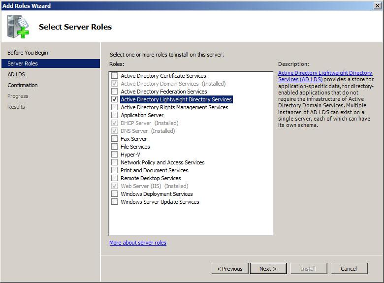 ad lds  windows server 2008