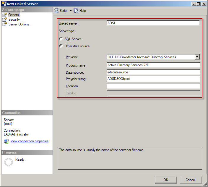 How to use sql server to query active directory sk for Window is not defined