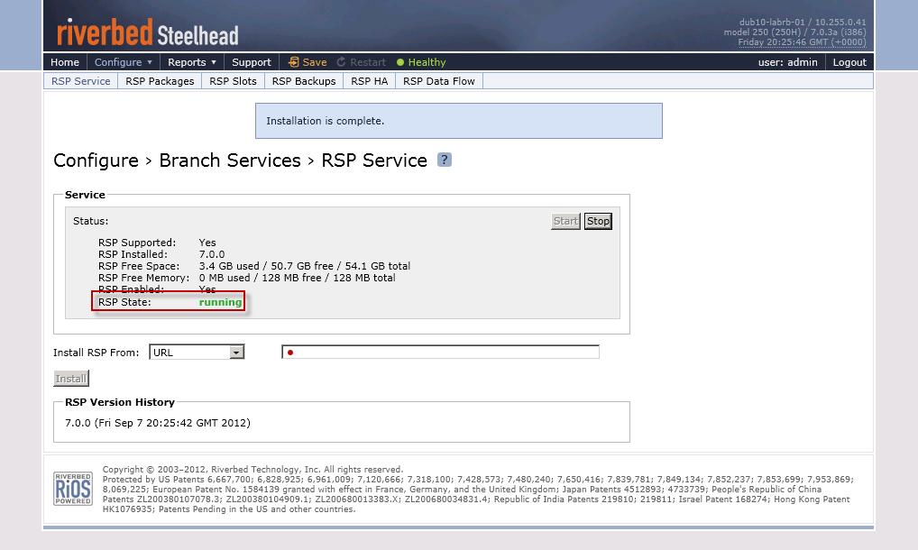 How-to : Riverbed Service Platform (RSP) installation on